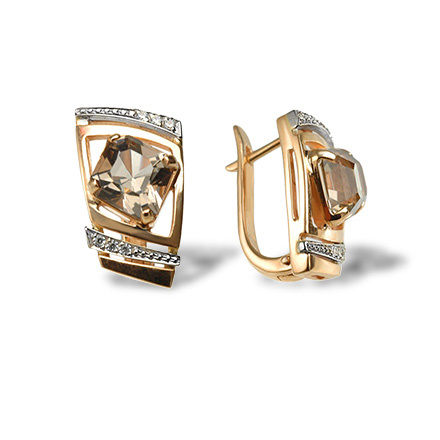 Luxury Classic Leverback Earrings. Quadrilateral-cut Rauh Topaz and Diamonds