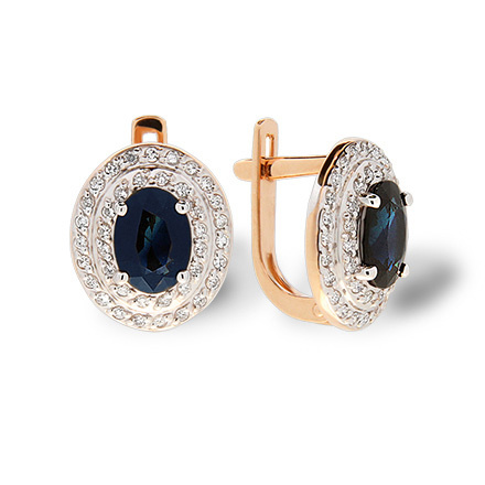 Oval Sapphire and Double Diamond Halo. Leverback Earrings