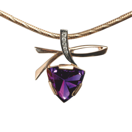 Triangular Amethyst Diamond Pendant
