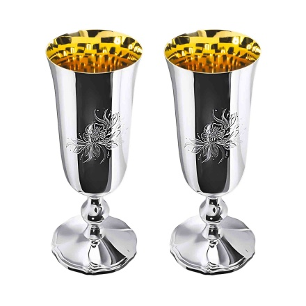 Polished Silver Champagne Glasses