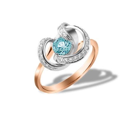 Blue Topaz and CZ Twisted Ring. 585 Rose and White Gold