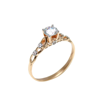 Antique-Style CZ Solitaire Engagement Ring. Rose Gold