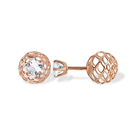 CZ Two-way Stud Earrings. Hypoallergenic 585 (14K) Rose Gold