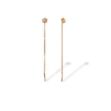 CZ Flower Motif Chain Earrings. Cadmium-Free 585 Rose Gold