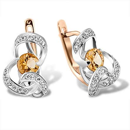 Citrine and CZ Ribbon Earrings