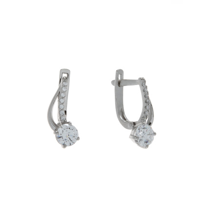Swarovski CZ Fiery Arcs Earrings. Hypoallergenic 585 (14K) White Gold