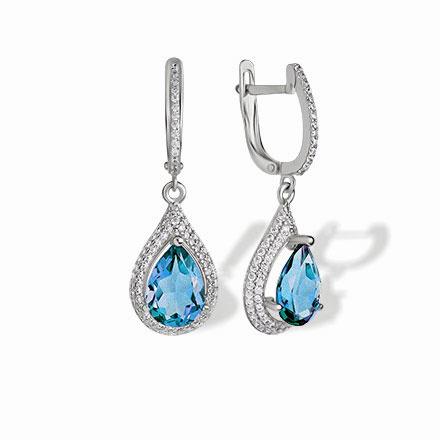 Blue Topaz Teardrop Leverback Earrings Nickel Free 585 White Gold Empress