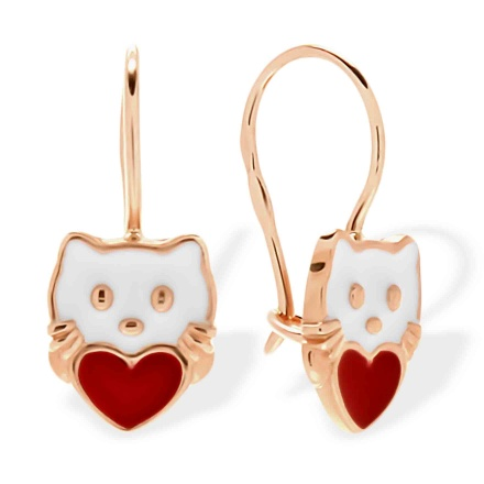 Enamel Kitty Earrings for Kids. 585 (14K) Rose Gold