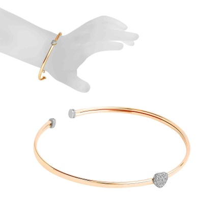 Sliding Heart Bangle. Hypoallergenic 585 Two-tone Gold