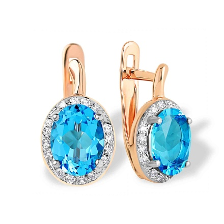Blue Topaz and Diamond Earrings. 585 (14kt) Rose Gold, Rhodium Detailing