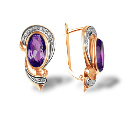 Amethyst and Diamond Estate Earrings