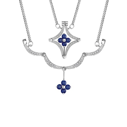 Sapphire and Diamond Convertible Necklace. Hypoallergenic 585 (14K) White Gold