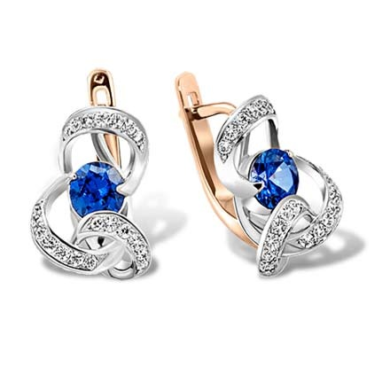 Sapphire and Diamond Ribbon Earrings