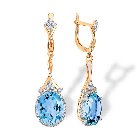 Oval-Shaped Blue Topaz Cocktail Earrings. 'Empress' Series,  585 Rose Gold