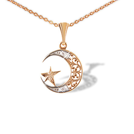 Jewish muslim catholic pendants gold moon pendant golden flamingo cz filigree crescent and star pendant mozeypictures Choice Image