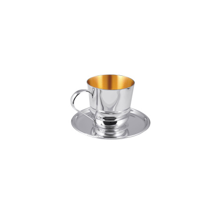Coffee/Tea Silver Cup with Saucer