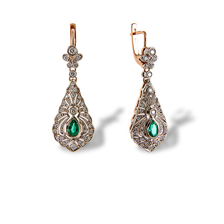 Certified Emerald and Diamond Earrings. Red Carpet Event Earrings