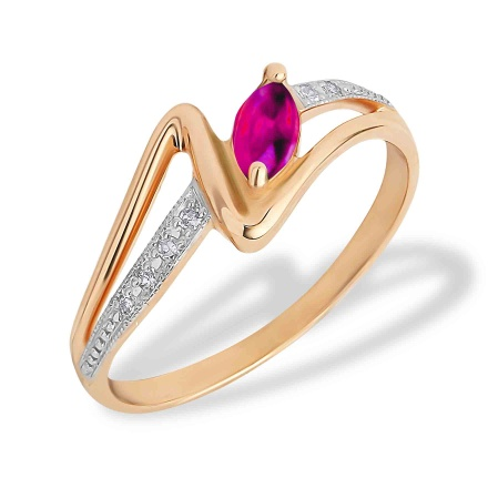 Marquise-shaped Ruby and Diamond Ring. 585 (14K) Rose Gold