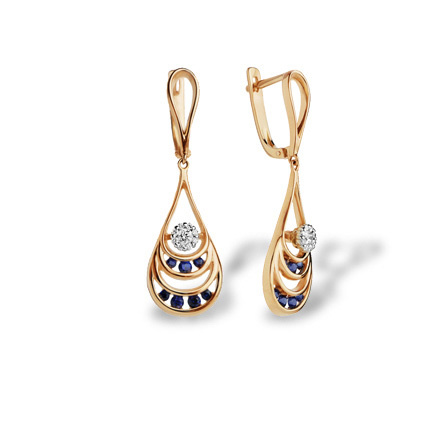 Sapphire and Diamond Dangle Earrings. 585 Rose and White Gold