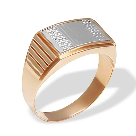 Textured Signet for Him. 585 (14kt) Rose and White Gold