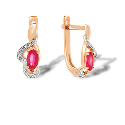 Oval Ruby and Diamond Leverback Earrings