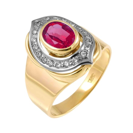 'Pigeon Blood' Ruby and Diamond Ring. 750 Two-tone Gold, KARATOFF Series