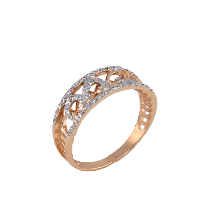 Curb-link rose gold ring