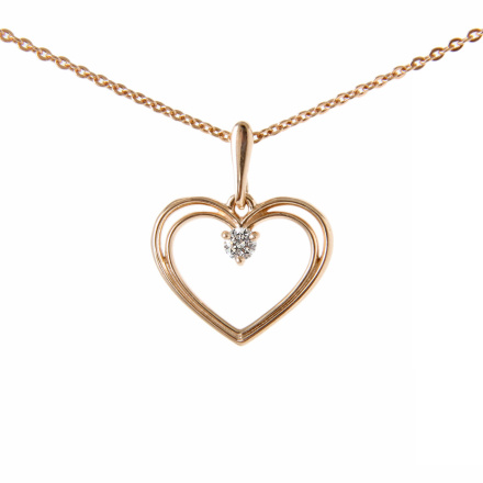'A True Open Hearts' Gold Pendant. Love Knot Charm