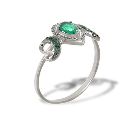 A Decadent Era-inspired Emerald Ring. 585 White Gold