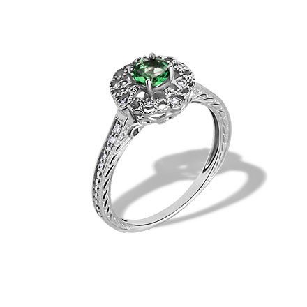 Emerald and Diamond Openwork Ring