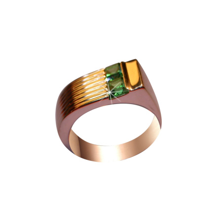Faux Emerald Gold Ring