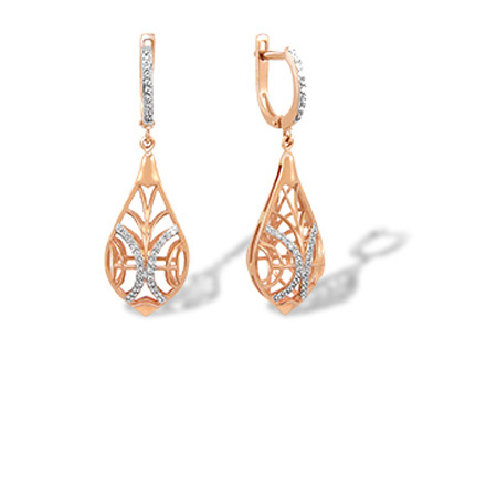 Swarovski CZ Drop Earrings. Dimensional Gold Earrings