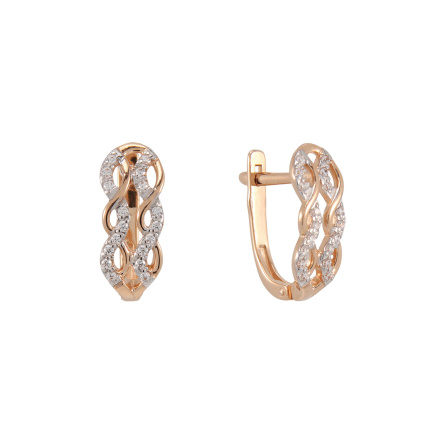 CZ rose gold mesh earrings