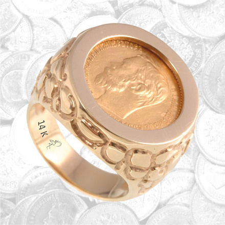 Nugget Pattern Russian Coin Finger Ring
