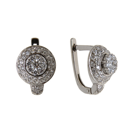 Solitataires leverback white gold earrings