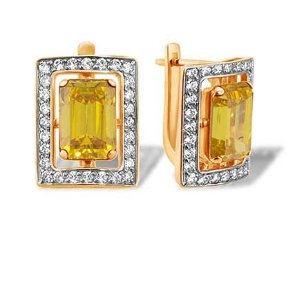 Baguette-cut Citrine and CZ Earrings