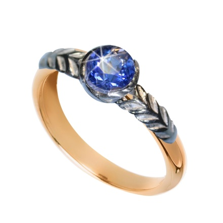 """Ocean Water""  Faux Sapphire Ring. 585 (14K) Rose and White Gold"
