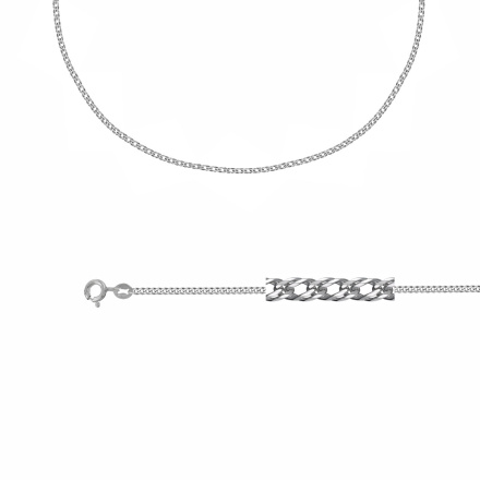 Double Curb-link Chain (.35mm Solid Wire). Diamond Cut Technique Over Sterling Silver