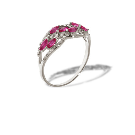 Marquise Ruby and Diamond Ring. 585 (14K) Hypoallergenic White Gold