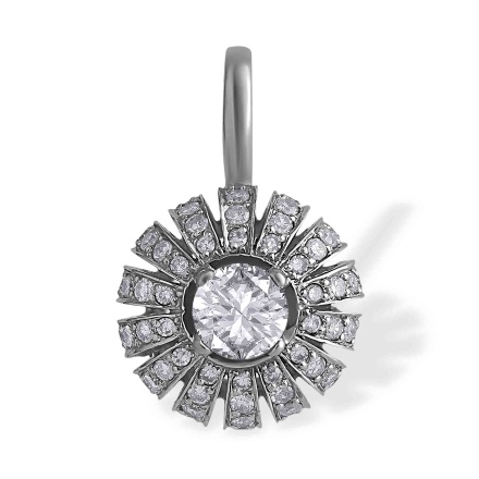 Eastern Motif Diamond Pendant. 585 (14kt) White Gold
