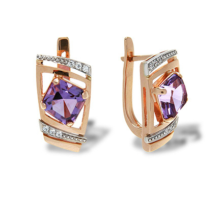 Luxury Classic Leverback Earrings. Quadrilateral-cut Amethyst and CZ