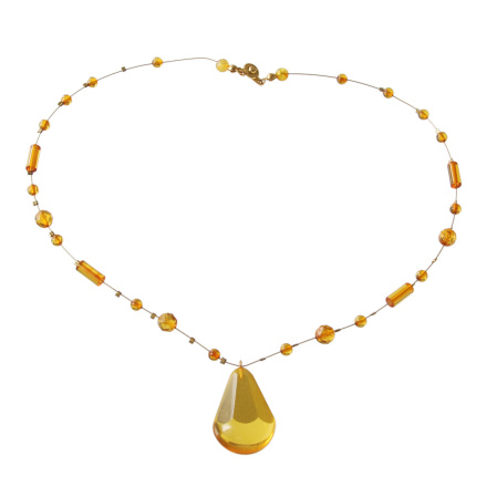 Sunny-hued Amber Teardrop Necklace