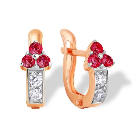 Ruby-like CZ Arrow-shaped Kids Earrings. 585 (14K) Rose Gold