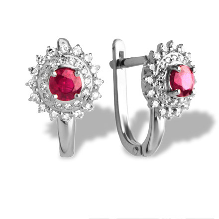 "Ruby with Double Halo Diamond  Earrings. ""The Art of Seduction"" Series. 585 White Gold"