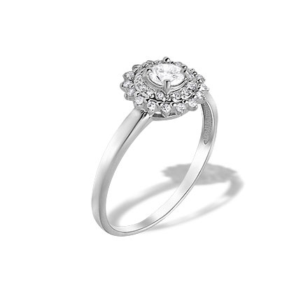 Diamond Double Halo Ring. Hypoallergenic Nickel-free 585 White Gold