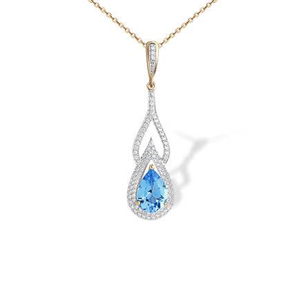 Teardrop Blue Topaz and CZ Pendant. 585 Rose Gold, 'Empress' Series