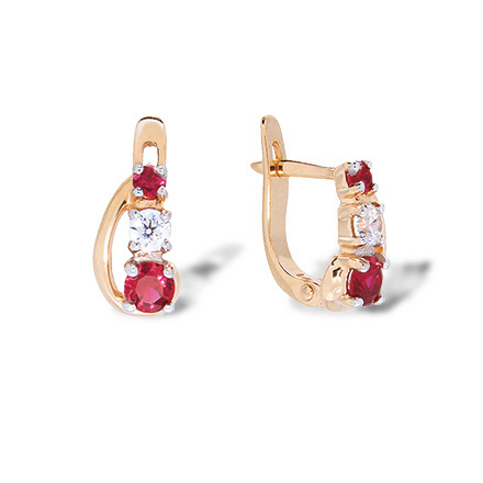Kids Rose Gold Leverback Earrings. Ruby-like and Diamond-like Cubic Zirconia