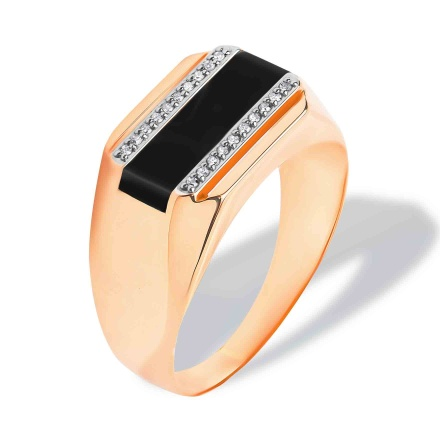 Black Onyx Diamond Ring for Him. Hypoallergenic 585 (14K) Rose Gold