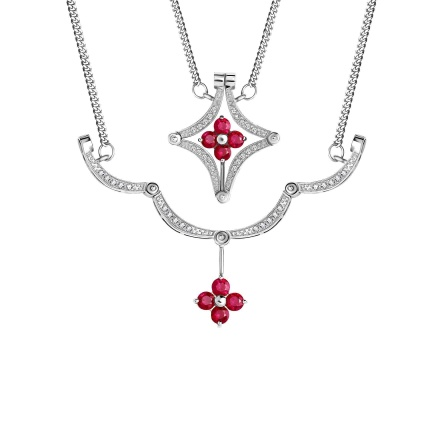 Ruby and Diamond Convertible Necklace. Hypoallergenic 585 (14K) White Gold