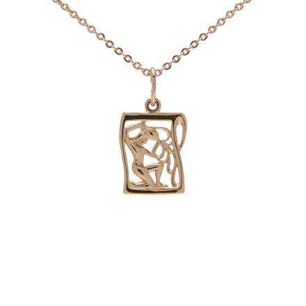 Rose Gold Pendant 'Aquarius Zodiac'. January 21 - February 18